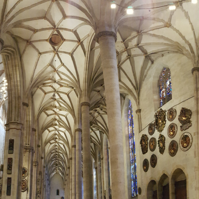 """Gothic church in Ulm, Ulmer Münster"" stock image"