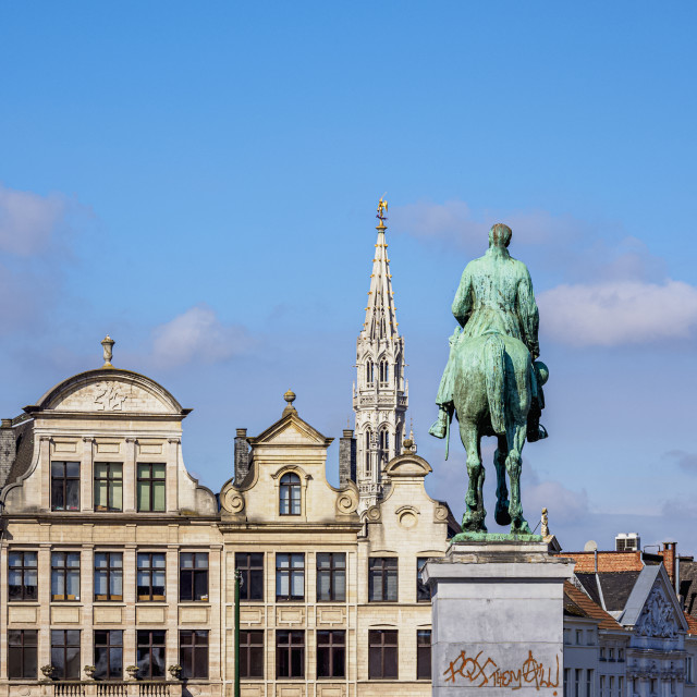 """""""Statue of King Albert I and Town Hall Spire, Mont des Arts, Brussels, Belgium"""" stock image"""