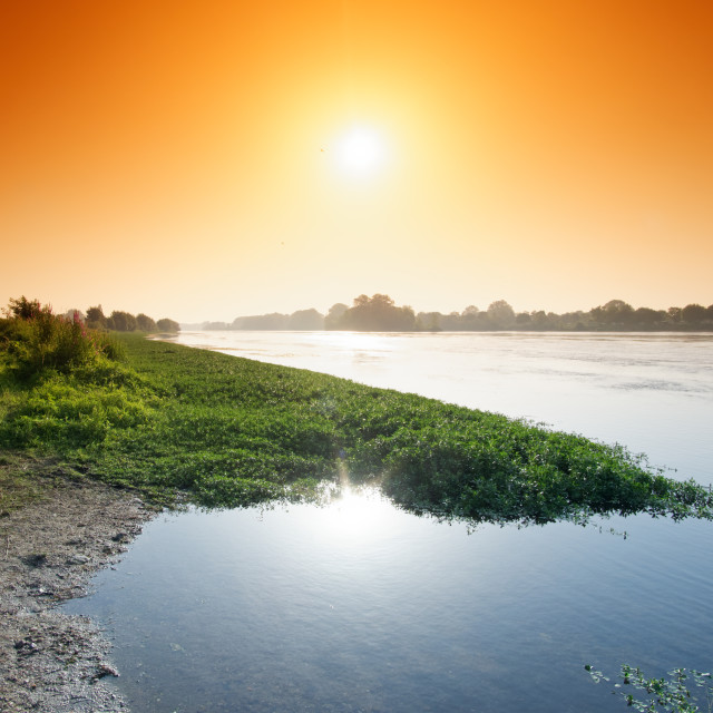 """Loire river sunrise"" stock image"