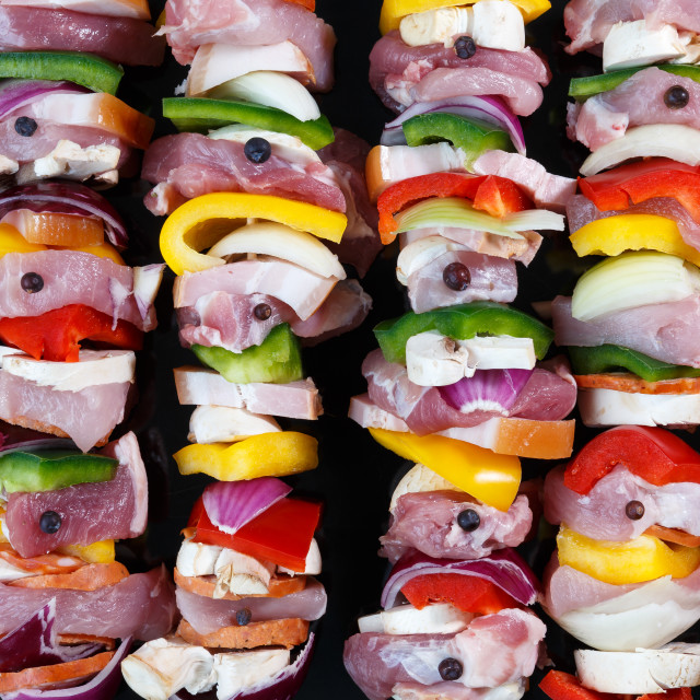 """Raw pork skewers ready for grilling"" stock image"