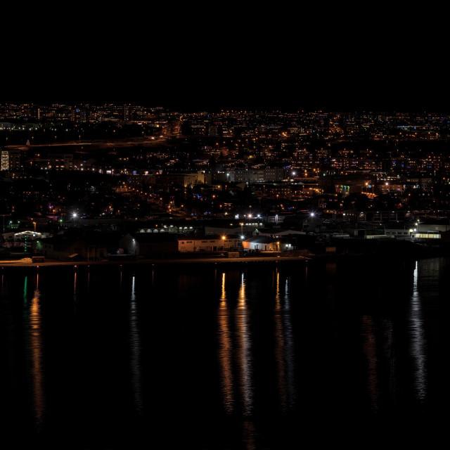 """""""Akureyri in the night, Iceland"""" stock image"""