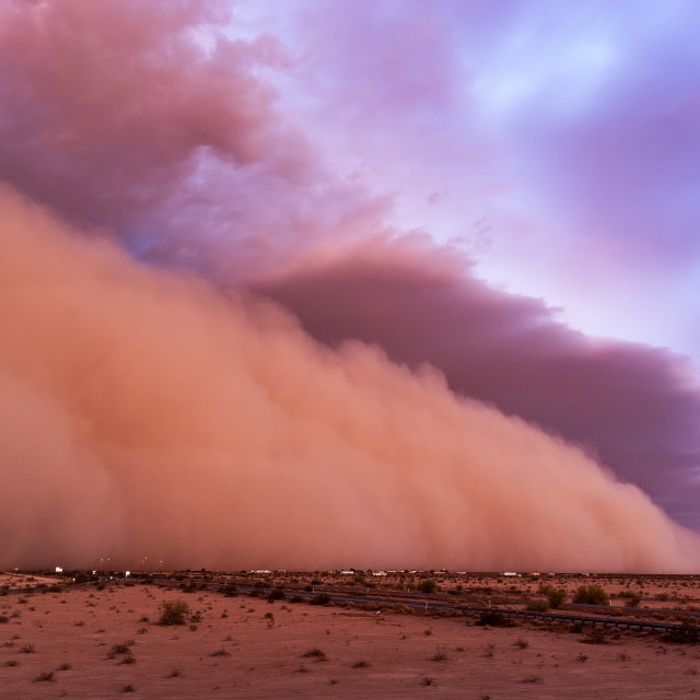 """A dramatic haboob moves across the Arizona desert at sunset"" stock image"