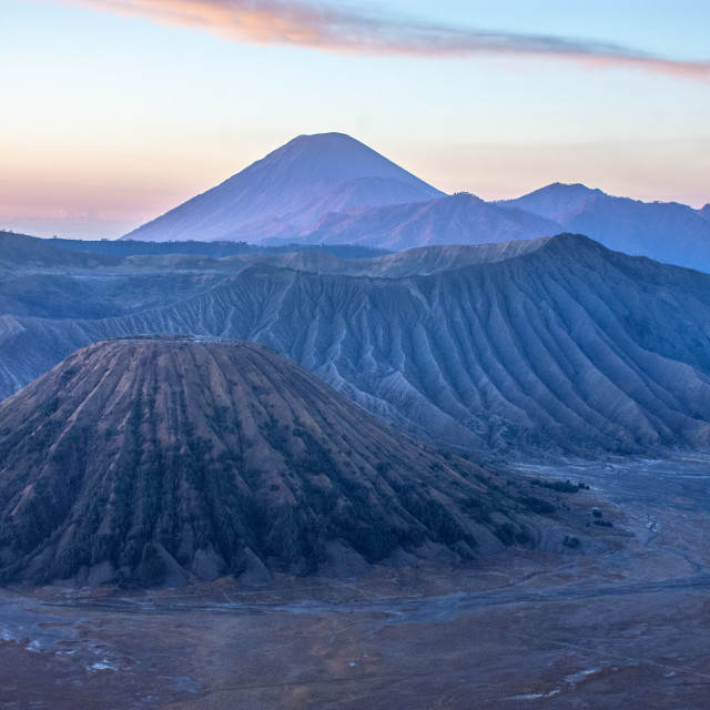 """The surreal landscape of Bromo Tengger Semeru National Park."" stock image"