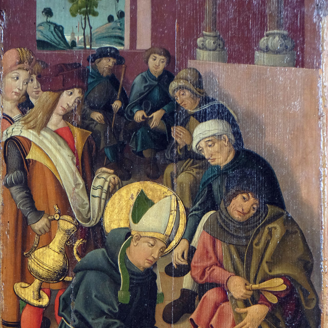 """""""Louis is washing the feet of lepers and pilgrims, altar of St. Louis of Toulouse in St James Church in Rothenburg ob der Tauber, Germany"""" stock image"""