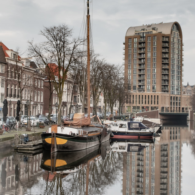 """""""Dutch barge in the Hague"""" stock image"""