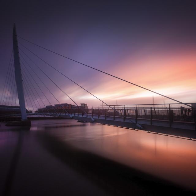 """Daybreak at Swansea Sail Bridge"" stock image"
