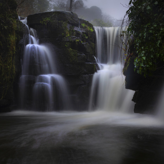 """""""The waterfall at Penllergare Valley Woods"""" stock image"""