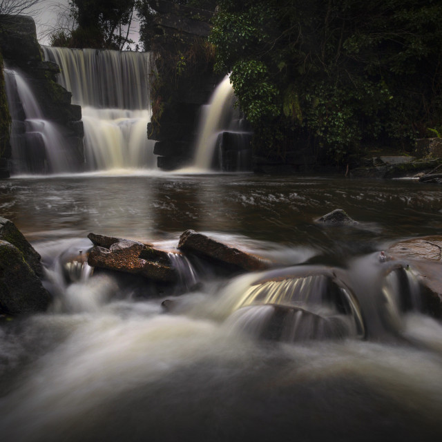 """""""A misty day at the waterfall in Penllergare Valley Woods"""" stock image"""