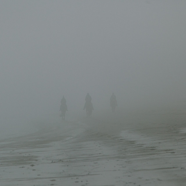 """""""Riders in the fog"""" stock image"""