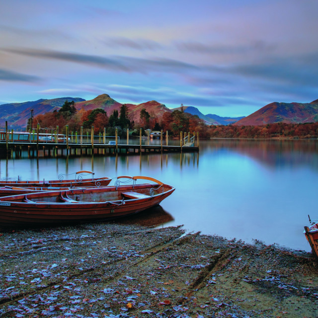 """""""Boats At Derwentwater."""" stock image"""