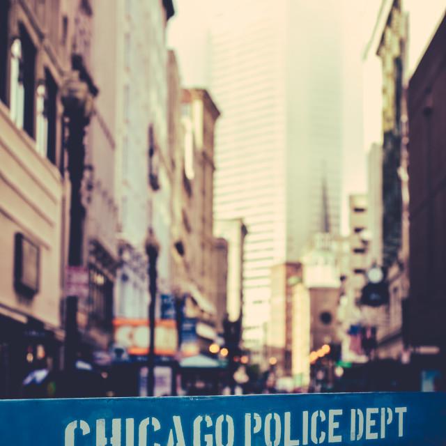 """""""Chicago Police Dept Barrier"""" stock image"""