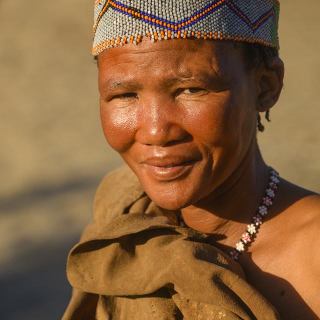 """San Bushmen tribes woman, Kalahari, Botswana"" stock image"