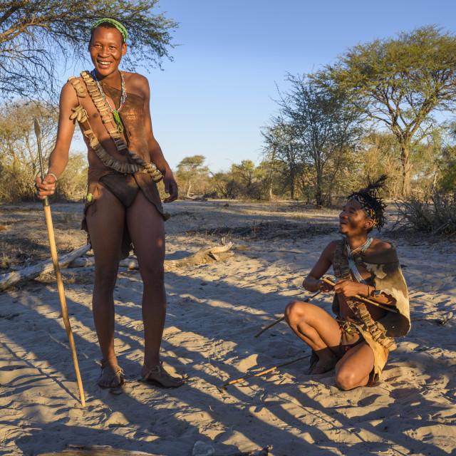 """Tourist walk with San Bushmen at Meno a Kwena camp, Kalahari, Botswana"" stock image"