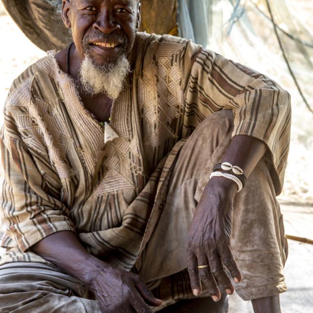 """""""Batammariba man in a Koutammakou village in North Togo."""" stock image"""