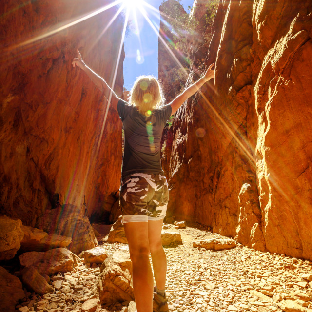 """""""Carefree tourist woman enjoying in picturesque natural alleyway of Standley..."""" stock image"""