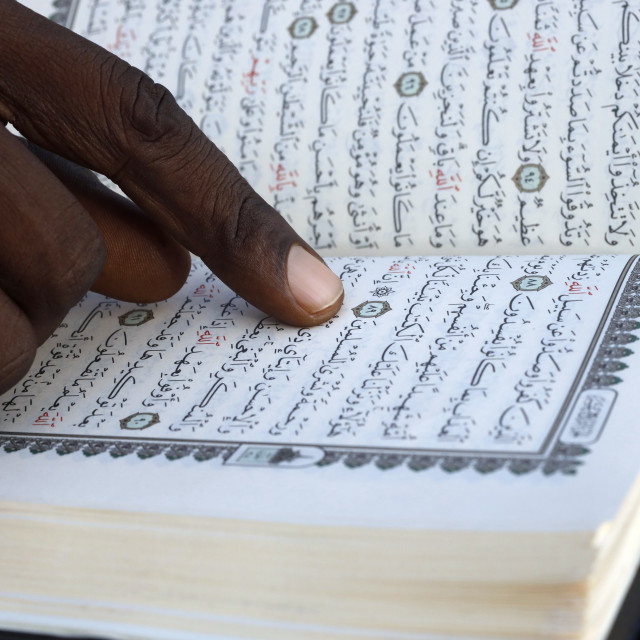 """""""African muslim man reading the Quran. Close-up on hands. Togo."""" stock image"""