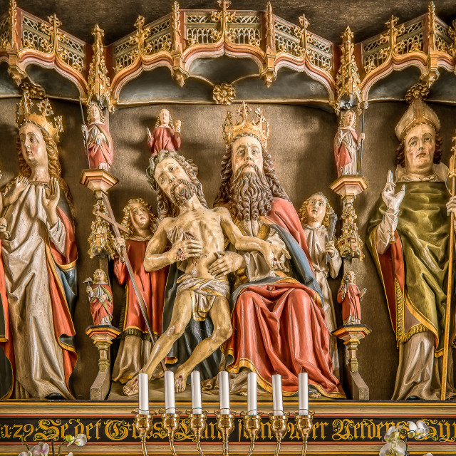 """""""Reredos from 1490 with sculptures of God the Father, Jesus and Virgin Mary"""" stock image"""
