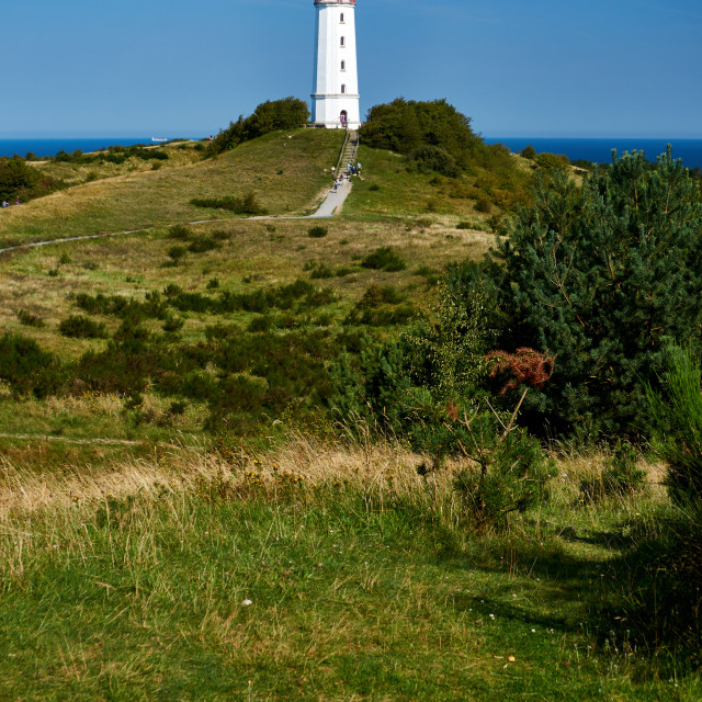 """postcard lighthouse on isle of Hiddensee in summer"" stock image"