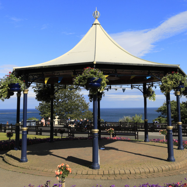 """""""The bandstand in Crescent Gardens, Filey town, North Yorkshire, England, UK"""" stock image"""