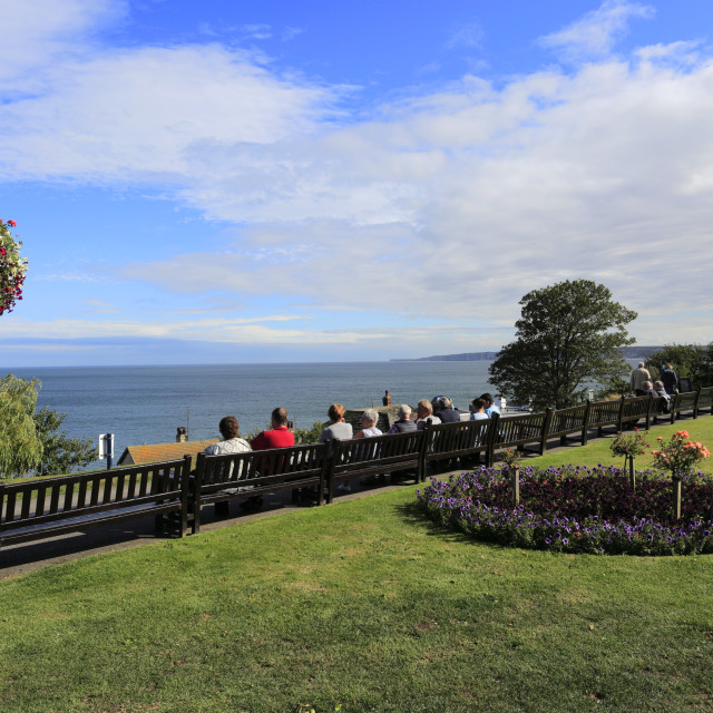 """""""Crescent Gardens, Filey town, North Yorkshire, England, UK"""" stock image"""