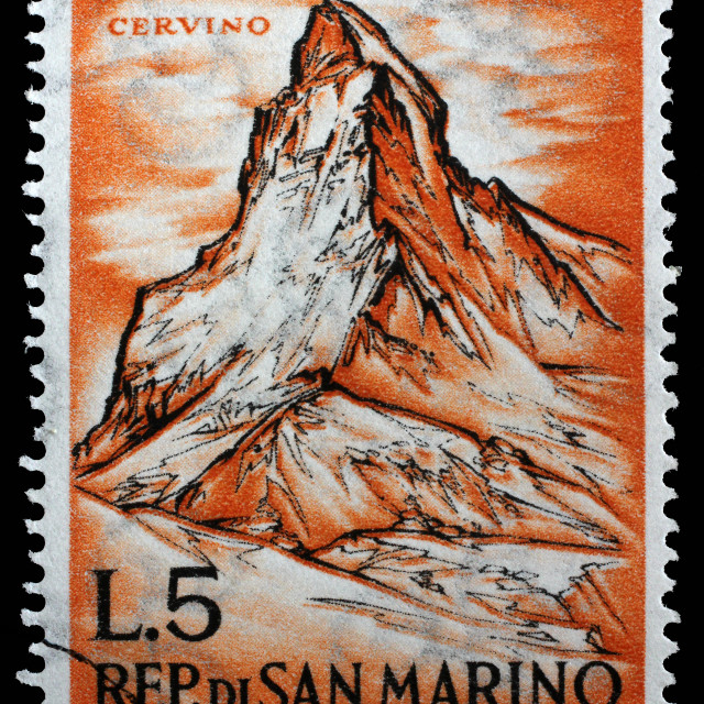 """""""Stamp issued in San Marino shows Matterhorn(Cervino) and devoted to mountaineering, circa 1962."""" stock image"""
