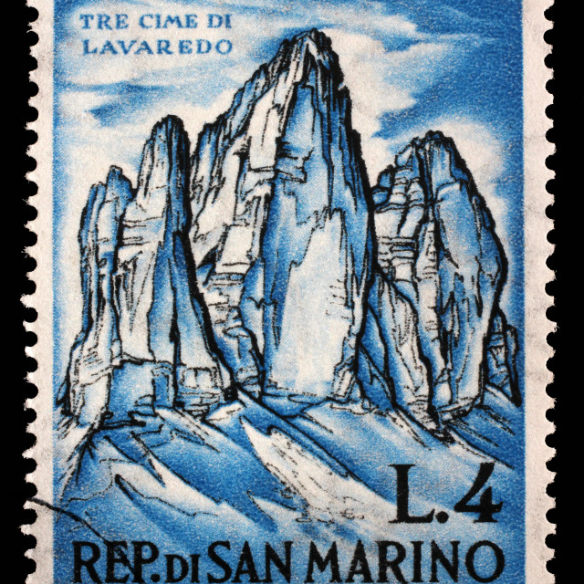 """""""Stamp issued in San Marino shows Tre Cime di Lavaredo and devoted to mountaineering, circa 1962."""" stock image"""