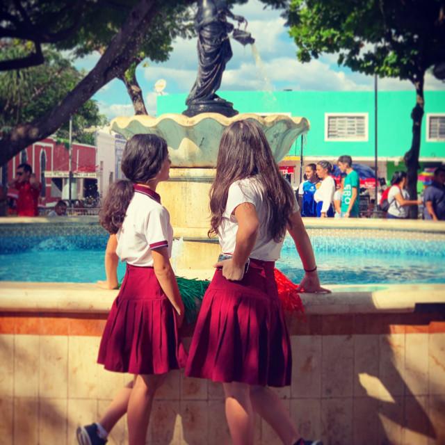 """""""Mexican schoolgirls"""" stock image"""