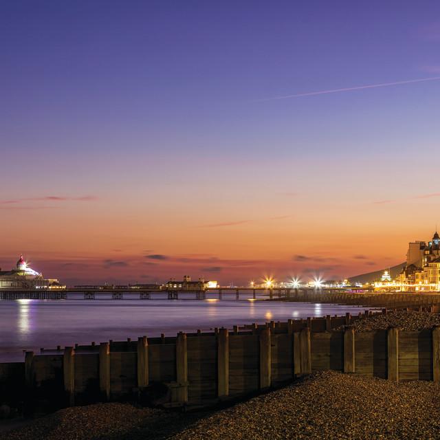 """Eastbourne Pier and Promenade Winter Blue Hour"" stock image"