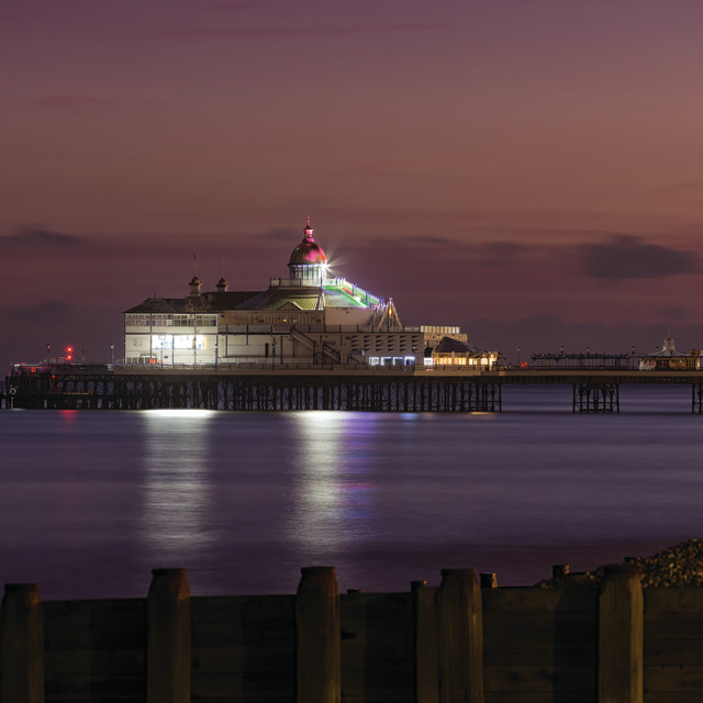 """""""Eastbourne Pier Winter End of Blue Hour"""" stock image"""