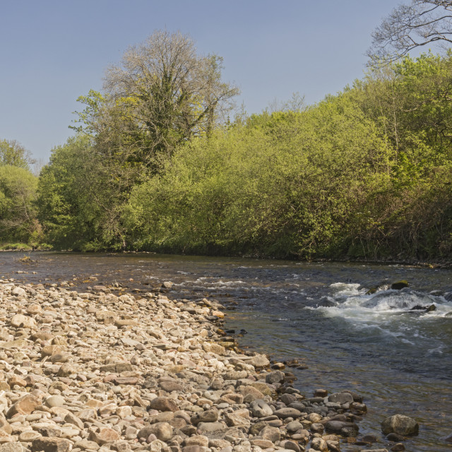 """River Tawe at Pontardawe, Neath Port Talbot, South Wales, UK"" stock image"