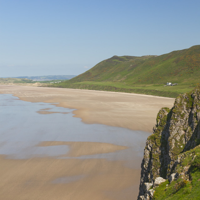"""Rhossili Bay, Gower Peninsula, Swansea, South Wales, UK"" stock image"