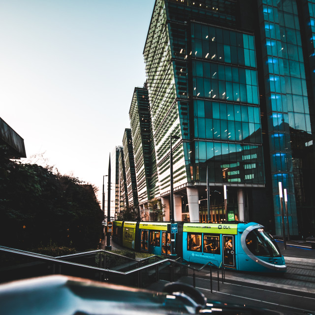 """Tram through the city"" stock image"