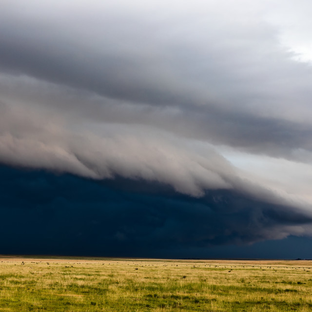 """Dramatic storm clouds over a field"" stock image"