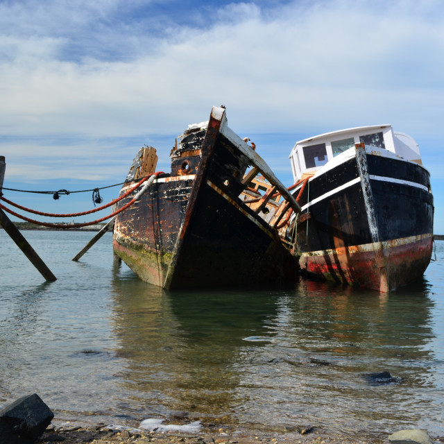 """Retired oyster boats"" stock image"