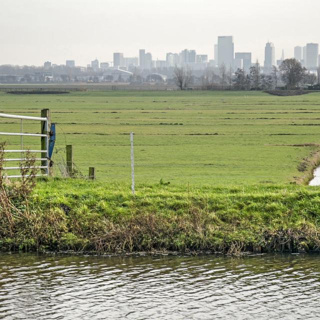 """Dutch lowlands and skyline"" stock image"