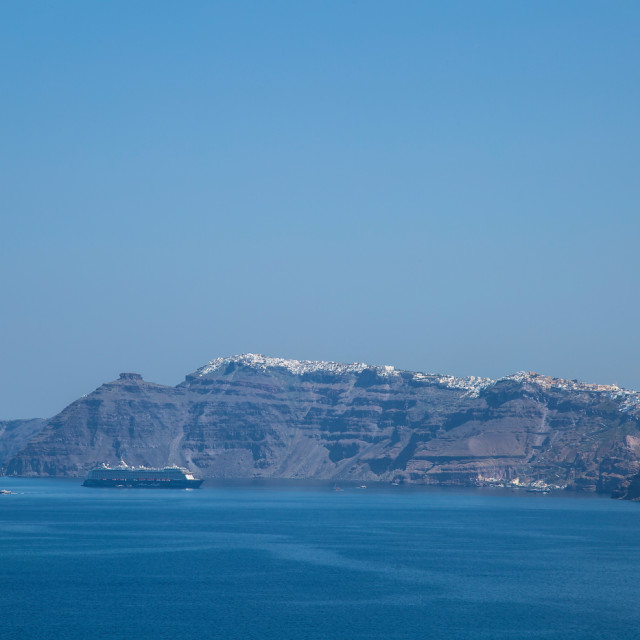 """Views of Santorini's caldera"" stock image"