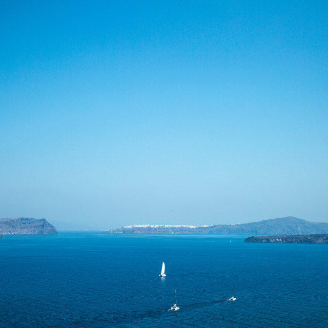 """Across Santorini's caldera"" stock image"