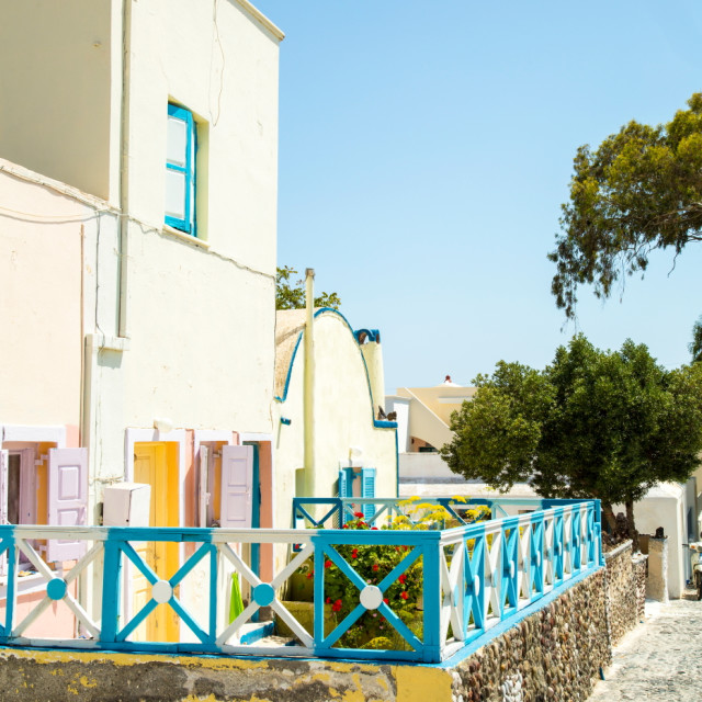 """""""One of the colourful streets on Santorini"""" stock image"""