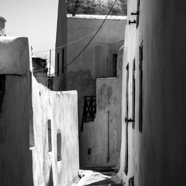 """Alleyways and mazes of Santorini"" stock image"