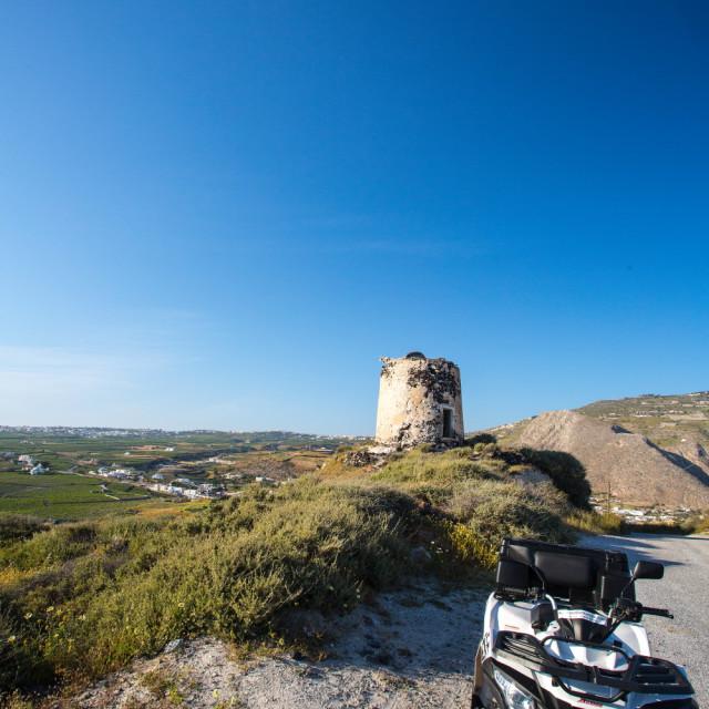 """Exploring the island of Santorini"" stock image"