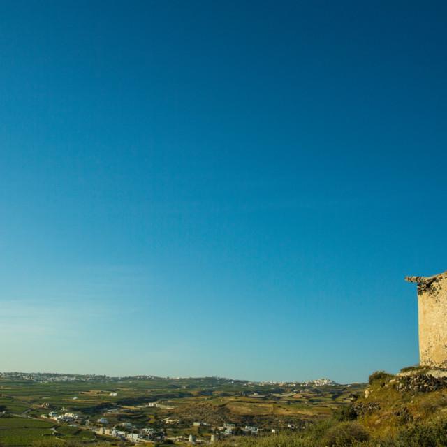 """Windmills of my mind Santorini"" stock image"