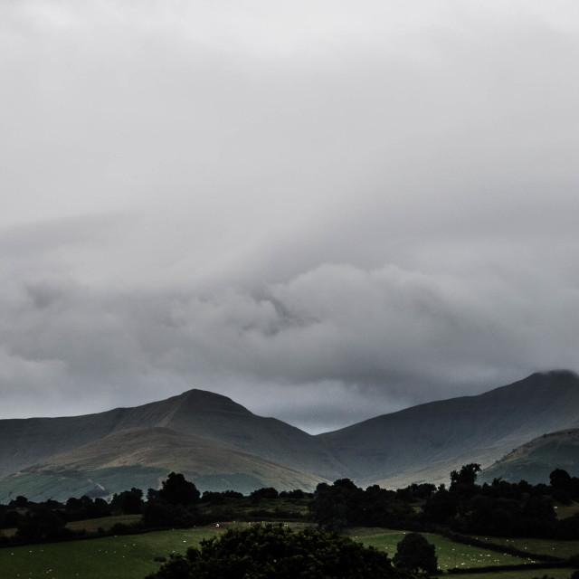 """Panoramic of the Penyfan Massif"" stock image"