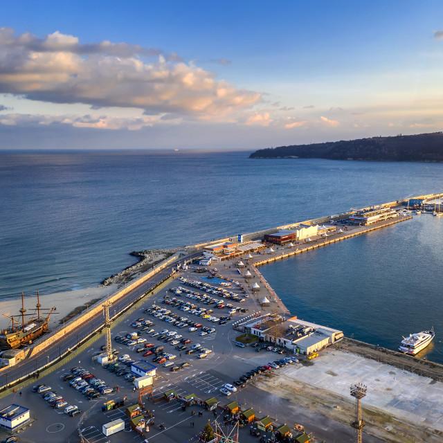 """seaport and breakwater"" stock image"