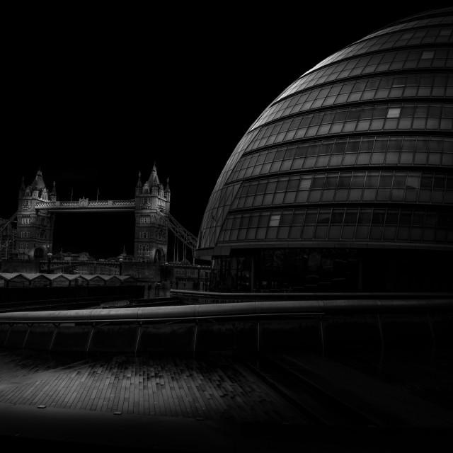 """City Hall and London Bridge"" stock image"