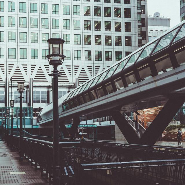"""Adams Bridge and Canary Wharf"" stock image"