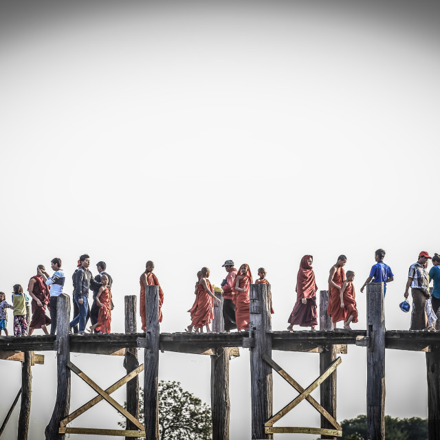 """locals and tourists walking on ubien bridge"" stock image"