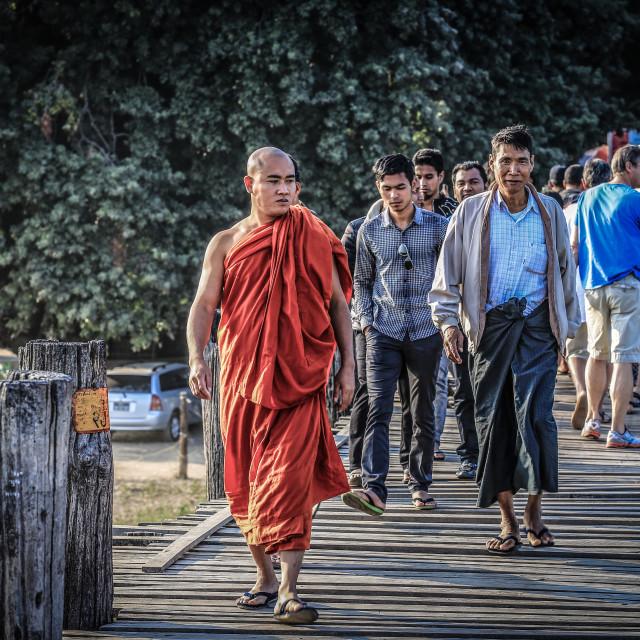 """""""locals walking on Ubien bridge"""" stock image"""