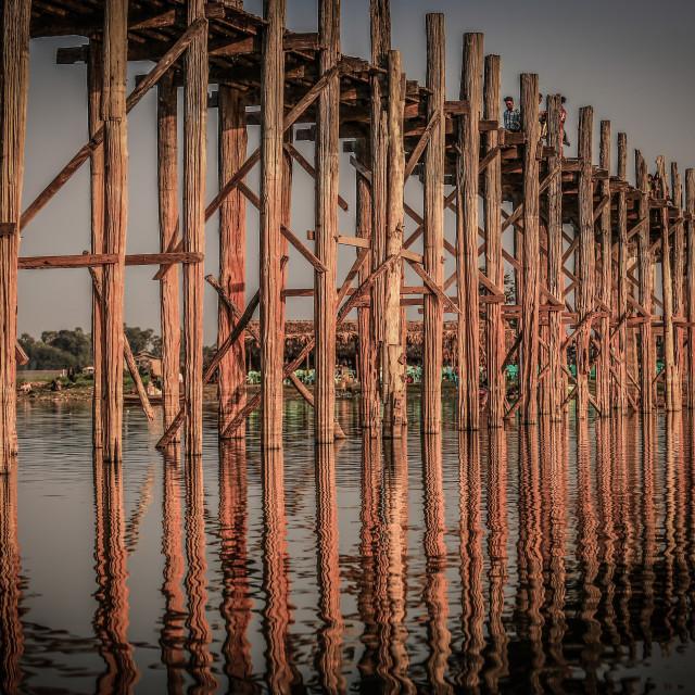 """""""structure of ubien bridge Myanmar"""" stock image"""