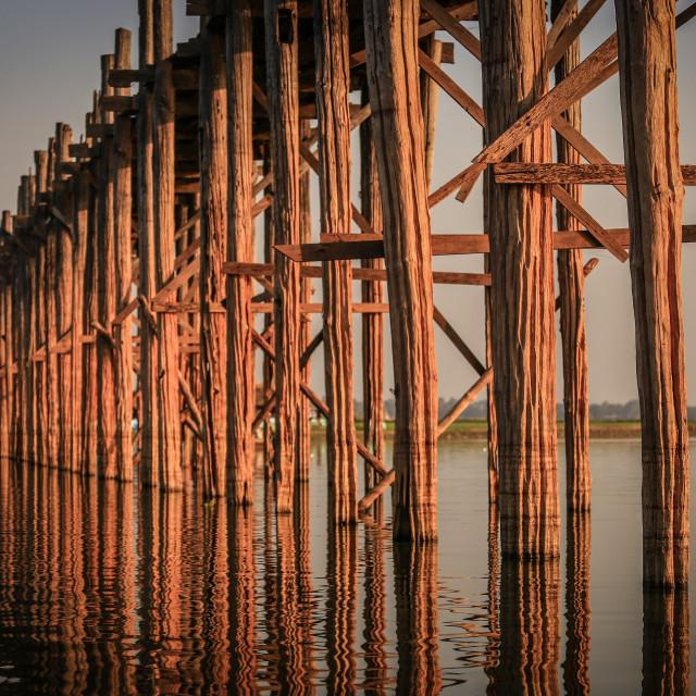 """""""wood structure of ubien bridge"""" stock image"""
