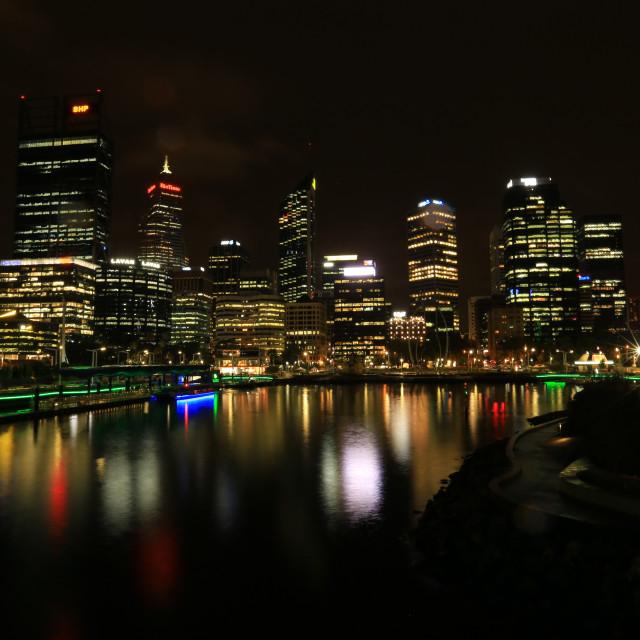 """sunset and night shot at Elizabeth quay Perth"" stock image"